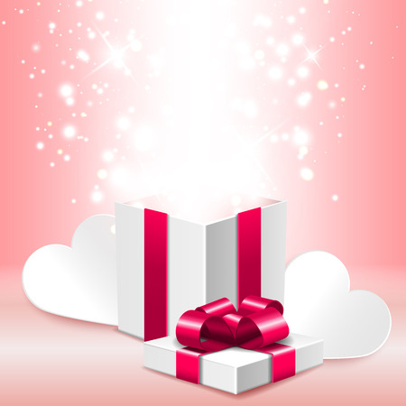 open gift box: Open gift box with shine, romantic Valentine