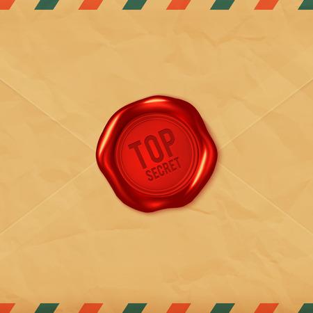 secret: Top secret red vector wax seal on old envelope