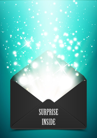 Vector illustration, surprise envelope gift with shine