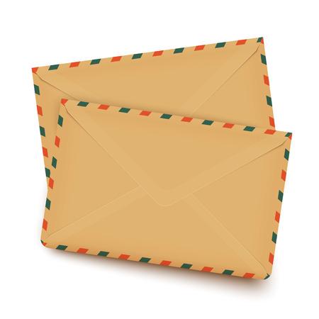 letter envelopes: Two old retro vector envelopes isolated on white