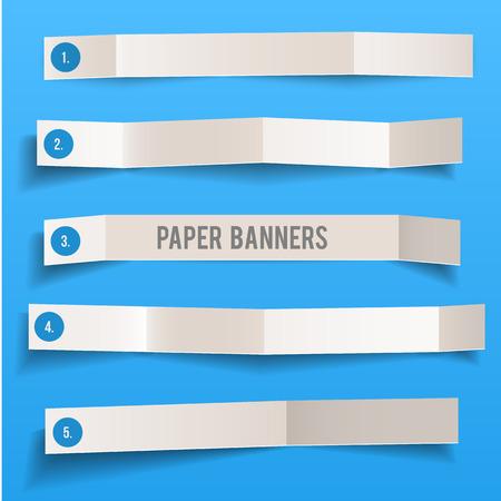 folded: Set of white blank paper vector folded banners, vector illustration