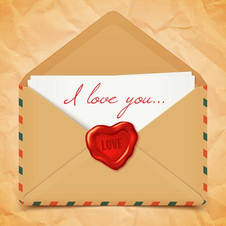 secret love: Postal de San Valent�n con el sobre viejo vector retro con sellos de cera en forma de coraz�n, carta de amor ilustraci�n Vectores