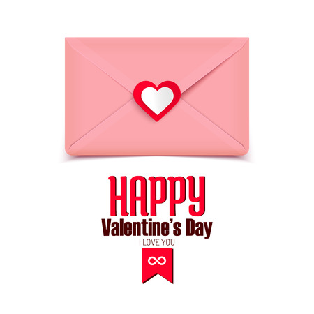 Valentine vector illustration, pink envelope isolated on white background, greeting card Vector
