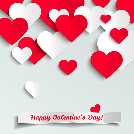 hearts background: Valentine vector illustration, red and white paper hearts on white background, greeting card