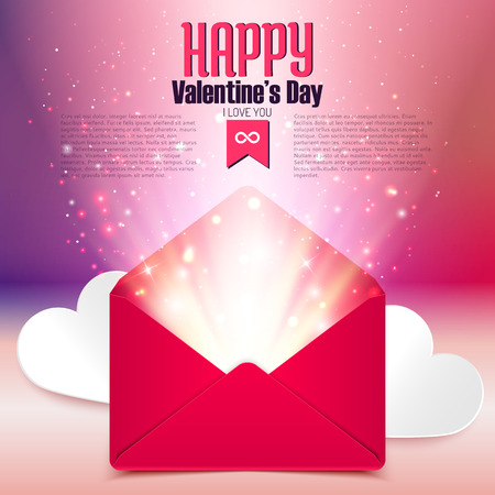 Valentine postcard with love letter surprise on defocused bokeh background Vector