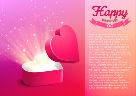 Valentine postcard with opened surprise gift box and shine Vector