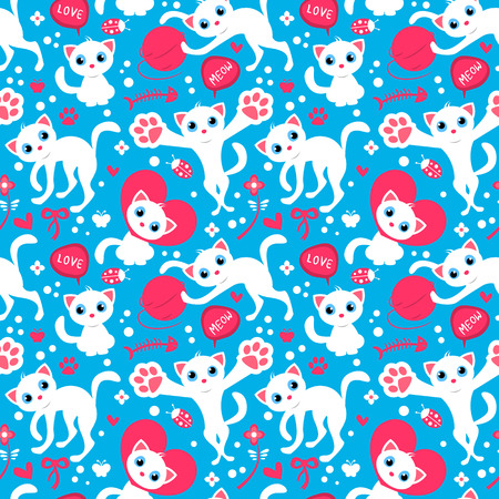 babyish animal: Romantic seamless pattern with cute playful kittens. Vector seamless texture for wallpapers, pattern fills, web page backgrounds
