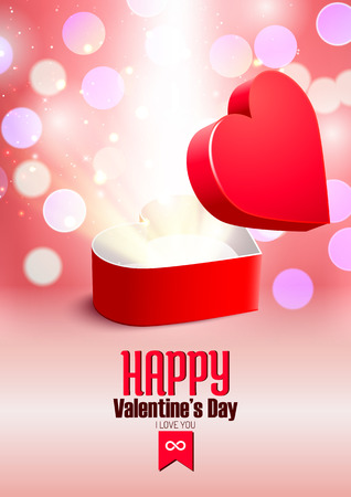Valentines day postcard with opened surprise gift box and shine Vector