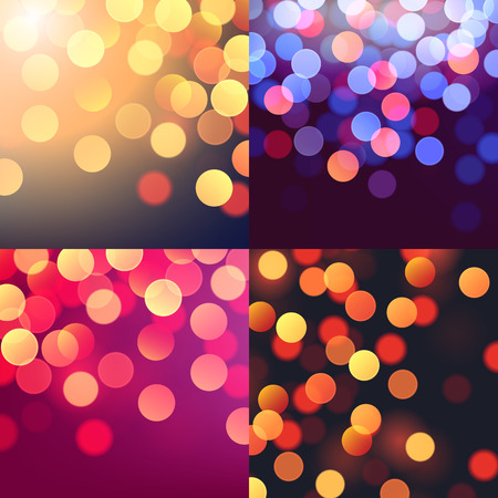 Set of vector realistic abstract background with blurred defocused colorful bokeh lights Vector