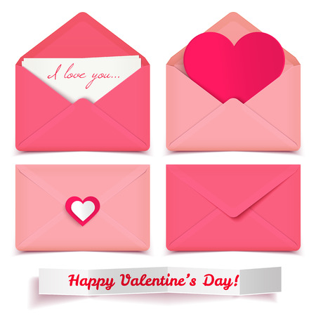 Set of four pink Valentine romantic vector envelopes isolated on white Ilustração