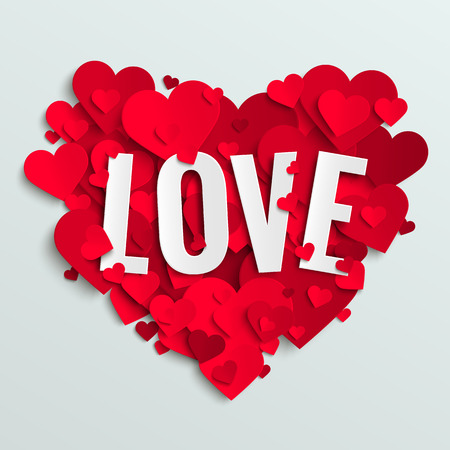Valentine vector illustration postcard, love text on red paper hearts background