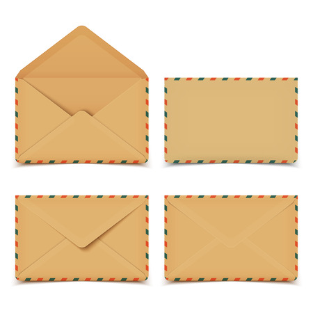 vintage envelope: Set of four blank old retro vector envelopes isolated on white