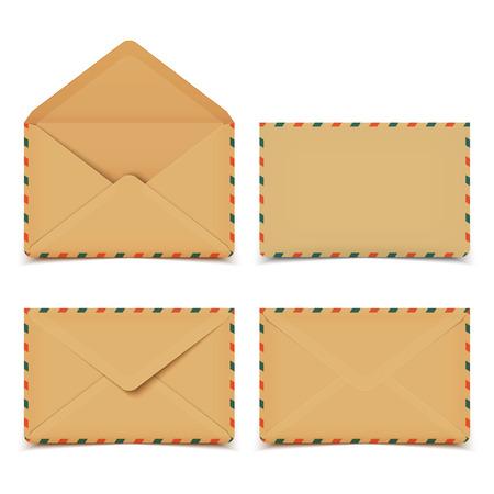 envelope: Set of four blank old retro vector envelopes isolated on white