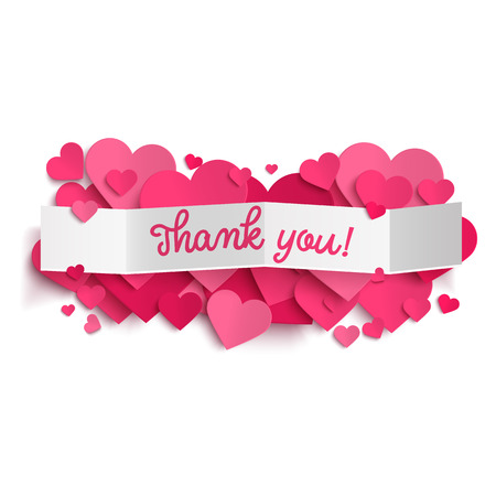valentines: Thank you text on white paper banner and realistic pink hearts