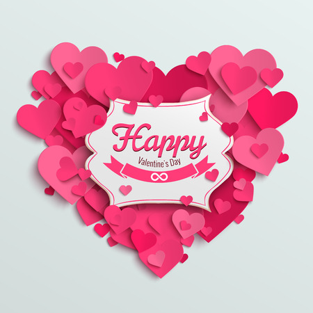 postcard romantic: Valentine vector illustration postcard, romantic text on pink paper hearts background