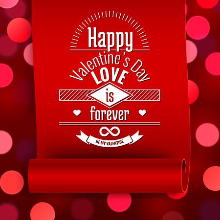 Saint-Valentin carte de voeux, amour message sur le ruban rouge sur fond boken Banque d'images - 36624673