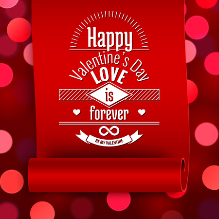 red shape: Valentine greeting card, love message on red ribbon on boken background