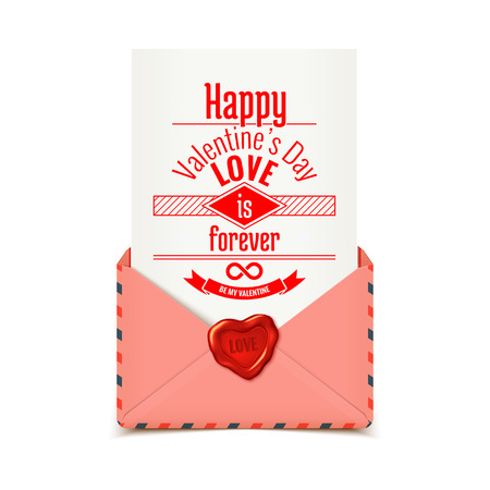 waxing: Pink realistic vector envelope with wax seal in heart shape with love message, Valentine illustration