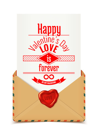 envelope: Realistic retro vector envelope with wax seal in heart shape with love message, Valentine illustration