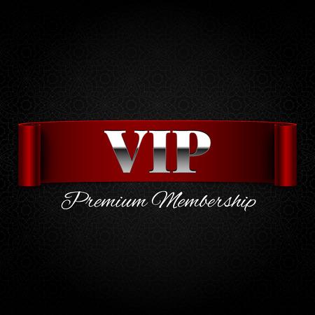 premium member: Vip text on red ribbon vector illustration