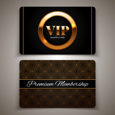 Gold VIP cards, premium membership, vector illustration Illustration