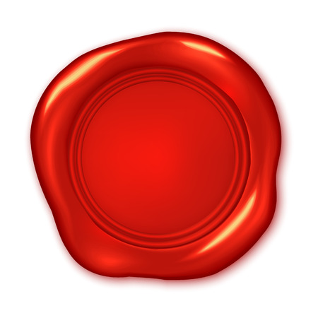 waxing: Vector red wax seal illustration isolated on white Illustration