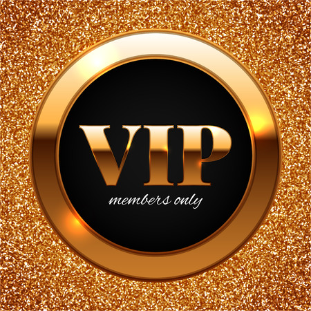 Gold VIP vector illustration on shiny glitter background Vectores