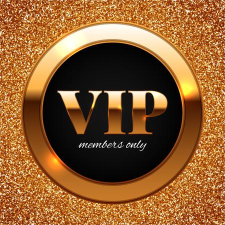 Gold VIP vector illustration on shiny glitter background Illustration