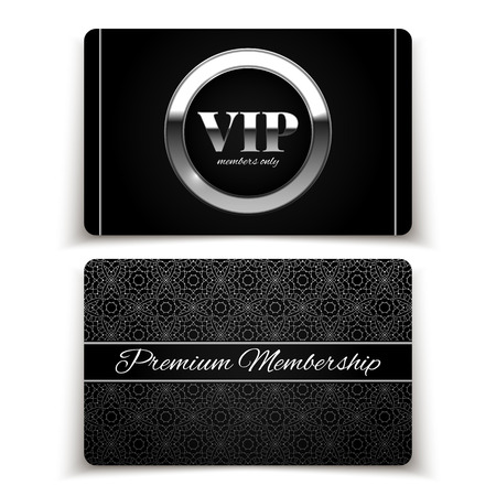 Silver VIP cards, premium membership, vector illustration Ilustrace