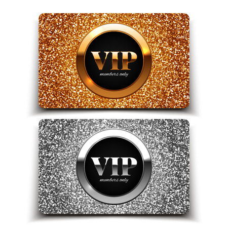 Gold and silver VIP cards with glitter, gift, voucher, certificate, vector illustration Vectores