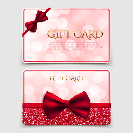Gift cards with red bow and glitter. Vector illustration. Voucher, certificate Vector