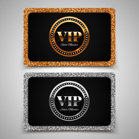 premium member: Gold and silver VIP premium member cards with glitter, gift, voucher, certificate, vector illustration