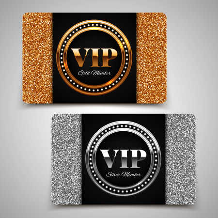 Gold and silver VIP premium member cards with glitter, gift, voucher, certificate, vector illustration