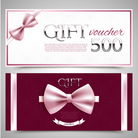 Vector gift vouchers with decorative bows Vector