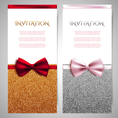 Vector invitation cards with shiny glitter and decorative bows