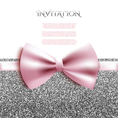 Invitation decorative card template with bow and silver shiny glitter Illustration