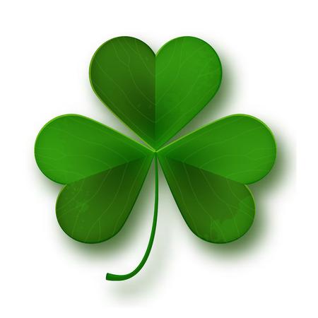feast of saint patrick: Saint Patricks Day shamrock leaf symbol isolated on white, vector illustration