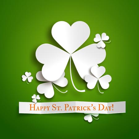 shamrock: Saint Patricks day greeting vector card, realistic paper shamrock leaves