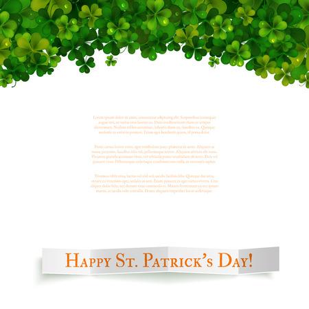 shamrock background: Saint Patricks Day vector background, realistic shamrock leaves