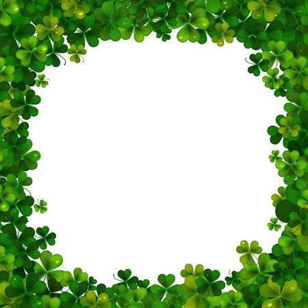 shamrock clovers: Saint Patricks Day vector background, frame with realistic shamrock leaves
