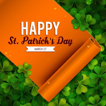 shamrock background: Saint Patricks Day card, ribbon on realistic shamrock leaves Illustration