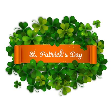 shamrock: Saint Patricks Day card, ribbon on realistic shamrock leaves Illustration