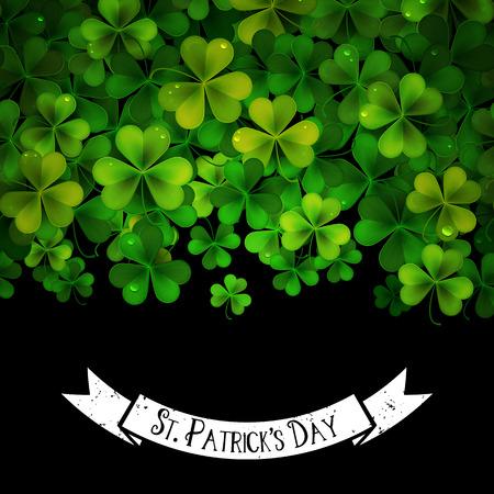 shamrock clovers: Saint Patricks Day vector background with realistic shamrock leaves Illustration