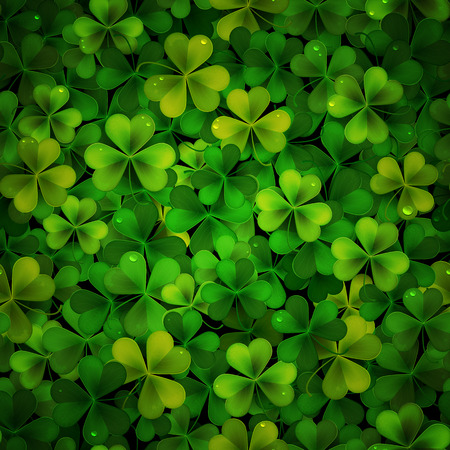 feast of saint patrick: Vector background with green realistic Saint Patricks day shamrock leaves