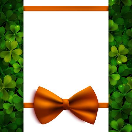 feast of saint patrick: Saint Patricks Day vector background, realistic shamrock leaves and orange bow, invitation, greeting card