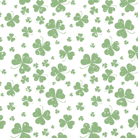 Seamless pattern with Saint Patricks day shamrock leaves Vector