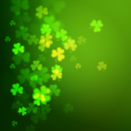 feast of saint patrick: Abstract unfocused shamrock leaves, Saint Patricks Day vector background
