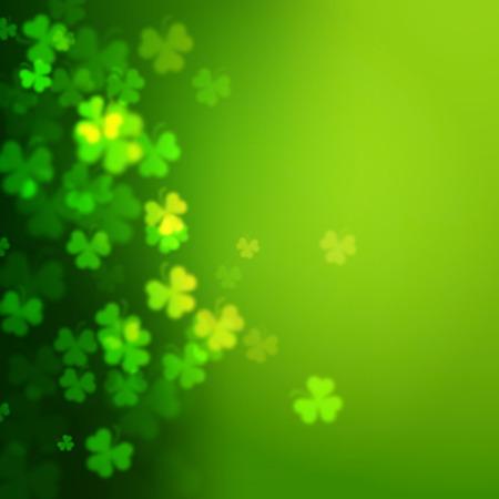 feast of saint patrick: Abstract unfocused shamrock leaves, Saint Patricks Day vector background