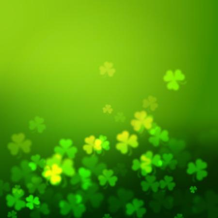unfocused: Abstract unfocused shamrock leaves, Saint Patricks Day vector background