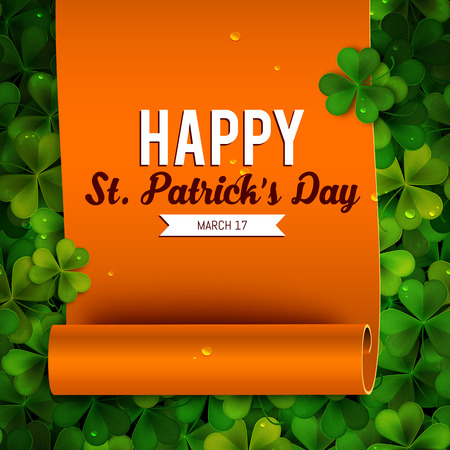 Saint Patricks Day card, ribbon on realistic shamrock leaves Vector